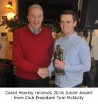 Tom McNulty presents David Howley 2016 Junior Player of the Year