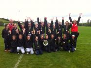 u12 girls with shield from donegal tournament