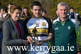 Brian Looney  Dr Crokes received  Man of the match from Mary O'Shea, Treasurer Chapter 23 Irish League of Credit Union