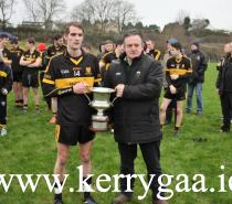 The Tom Naughton Cup  presentation to winning captain Gavin O'Shea by Stephen O'Sullivan, Ass Secretary of  Kerry Co Cttee