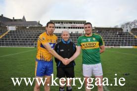 Round 1. Kerry & Clare captains with Referee