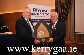 Aogán Ó Fearghaíl, Uachtarán, Cumann Luthchleas Gael been presented by Joe Walsh, Chairman of the North Kerry Hurling Board