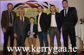 Pa Kelly, Ger McCarthy (Hurling Officer), Fionan and John Egan, Captain, John Griffin and Shane Nolan celebrate Kerry's Christy