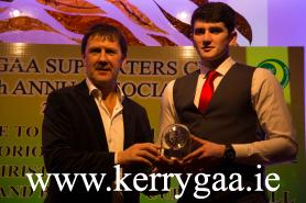 Kerry Trainer, Jack O'Connor, and Captain, Mark O'Connor celebrate Kerry's Minor All Ireland victory at the Kerry GAA Supporters