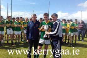 North Kerry captain Luka Brosnan accepting  the John O Donovan Memorial Cup