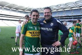 Captain and Manager in Croke Park after securing Chrisrty Ring Cup!