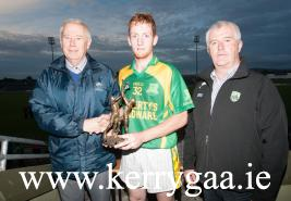 Kilmoyley's Adrian Royle was presented with the Credit Union Man of the Match award by Christy Killeen