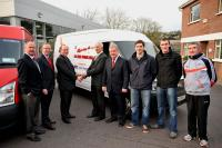Michael Mullins CAB Motors presents keys to Conor Counihan as CAB sponsor the Cork Footballers Van for 2012