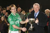 Brendan Fitzgerald, Ballincollig, receives the Tadhg Crowley Cup from PRO Gerard Lane