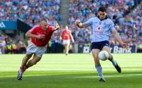 Ml-Shields about to block down Bernard Brogan