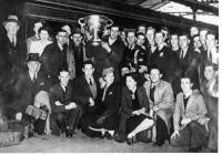 Tadhg Crowley holds Sam Maguire aloft in 1945