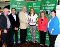 Rena Buckley Inniscarra Winner September Muskerry GAA/Auld Triangle Sports Star Award presented with trophy by Michael O'Riordan