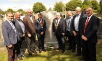 Wreath laying ceremony at the grave of Jack Lynch in St Finbarrs Cemetery