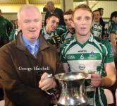 County Chairman Ger Lane presenting the PA Weeshie Murphy Cup to Jack Lyons Capt Valley Rovers U21'A'FC Victors