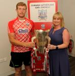 Presentation of Munster Cups to winning capts by Tracey Kennedy at July CCB meeting