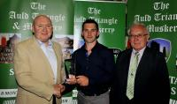 Colm O'Leary Cill na Martra August Winner Muskerry GAA/Auld Triangle Sports Star Award with Michael O'Riordan and Aubert Twomey