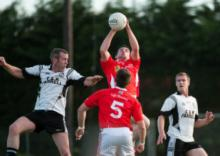 Timahoes' Sean Ramsbotton claims this breaking ball. Photo Denis Byrne.