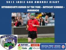 2013 Laois GAA Awards - Intermediate Hurling - Anthony Kirwan - Shanahoe
