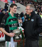 Jack Nolan of Midlands Radio interviewing Ballyfin Captain James Finn after their historic victory