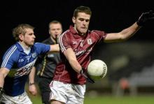 Fiontán Ó Curraoin, Galway, in action against Mark Timmons, Laois