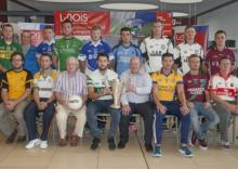 Senior football captains with Gerry Kavanagh (Laois GAA chairman) and Kevin Doyle (Laois Shopping Centre manager) at the launch