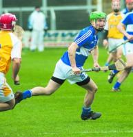 Laois' Tommy Fitzgerald has a quick look during their N.H.L clash with Antrim. Photo Denis Byrne.