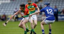 2014 LSHC Round Robin Rd 2 - Laois v Carlow - Carlow's Diarmuid Byrne with Laois's Stephen Maher during the Leinster s