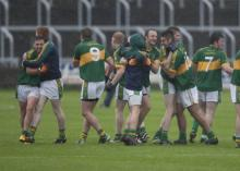 Celebrations for Ballylinan after defeating St. Joseph's in the Laois Shopping Centre Senior Football Championship at O'Moore Pa
