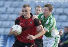 Ciaran Carroll on the attack for The Rock against John Donohue Stradbally in the SFC at O'Moore Park. Picture Alf Harvey