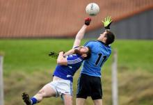 Paul Begley, Laois, in action against Dean Rock, Dublin