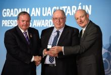 Har Ramsbottom, Park Ratheniska Club, Laois, is presented with his GAA President's Award for 2015 by Uachtarán