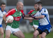 Michael Hand, Graiguecullen looks for a way past Eoin George, Mountmellick in the Laois Shopping Centre SFC. Pic Alf Harvey