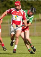 St. Fintans James O Keeffe looks to secure possession as Borris Kilcottons Rory Moore challenges. Pic Denis Byrne.