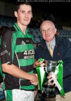 Laois County Board Chairman Gerry Kavanagh presenting Captain James Finn with the ACFL Division 3 Plaque. Pic Denis Byrne.