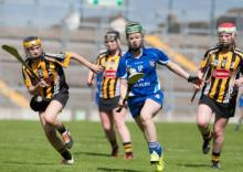 Laois's Michelle Holmes in action against Kilkenny's Ruth Jones, Sarah Ann Quinlan and Laura Hegarty during the Irish Daily Star