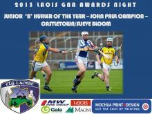 2013 Laois GAA Awards - Junior B Hurling - John Paul Campion - Castletown Slive Bloom