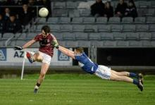 Sean Armstrong, Galway, in action against Paul Begley, Laois