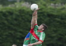 Daniel O Reilly, Graiguecullen contests this ball with Tom Shiel, Stradbally Parish Gaels in the Minor League final at Crettyard