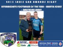 2013 Laois GAA Awards - Intermediate Football - Martin Scully - Ballyroan Abbey