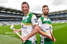 29 July 2014; Brendan Cummins, left, Tipperary, with Eoin Reilly, Laois, during the launch of the M.Donnelly GAA's All-Irel