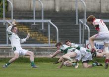 Mick Lawlor, Emo is denied a goal by Micky Nolan, Eoghan Whelan and Eoin Bland, Portlaoise. Pic Alf Harvey