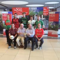 Intermediate football captains with Gerry Kavanagh (Laois GAA chairman) and Kevin Doyle (Laois Shopping Centre manager) at the l