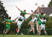 Action from the Intermediate Football Chamspionship Rd 3 clash between Park Ratheniska and Portlaoise at Annanough. Photo Denis