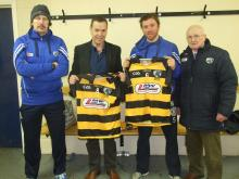 Seamus Plunkett, Joe Fitzpatrick, Gerry Kavanagh and John Finlay with special jerseys commissioned to mark the 1915 Centenary