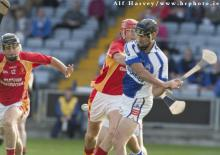 2013 Laois SHC - Paul Cuddy clears for Castletown Slieve Bloom against The Harps in the SHC at O Moore Park. Picture Alf Harvey