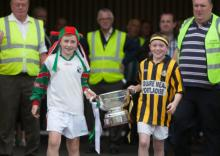 Dara Fleming and Cathal Cuddy with the Bob O'Keeffe cup before Camross and Rathdowney Errill Picture Alf HarveyHRPhoto.ie