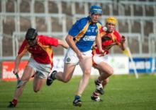 Clough Ballacollas' Willie Hyland on the break against the Harps on Sunday. Photo Denis Byrne.