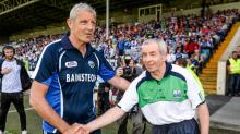 21 June 2014; Laois manager Tomas O'Flatharta and Fermanagh manager Pete McGrath, right, shake hands after the game. GAA Footbal