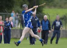 Anne Marie Purcell strikes for Laois against Down in the Camogie Championship at Rathdowney. Picture Alf Harvey hrphoto.ie
