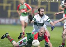 2013 Laois SFC - Shane O Neill, Graigue and Brian Smith, contest this ball in the SFC at O Moore Park. Picture Alf Harvey